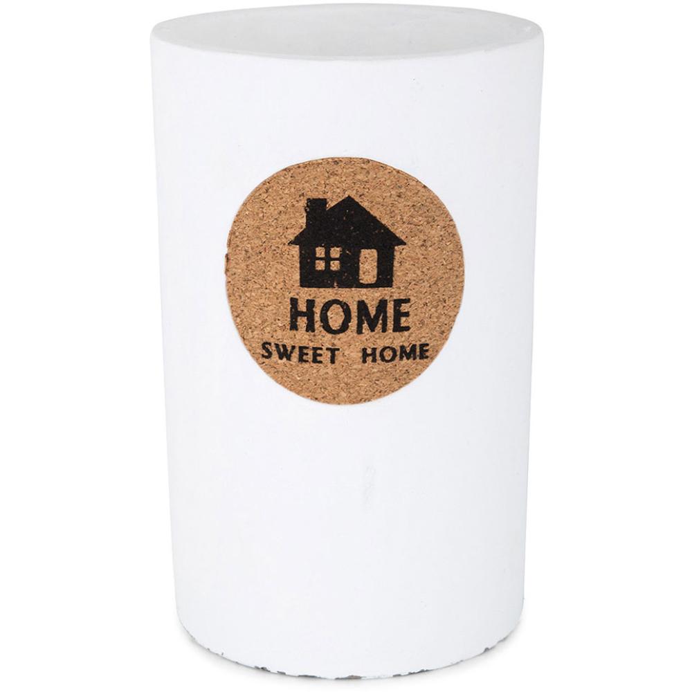 "Concrete ""Home Sweet Home"" Vase – White 21cm 1"