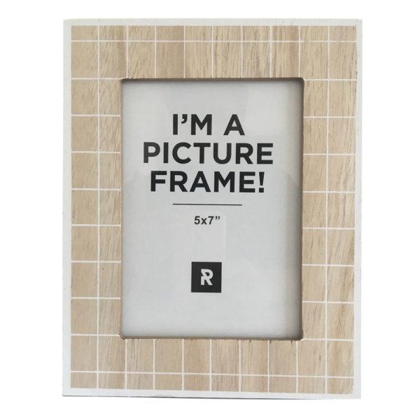 Beige & White Check Timber Photo Frame 2