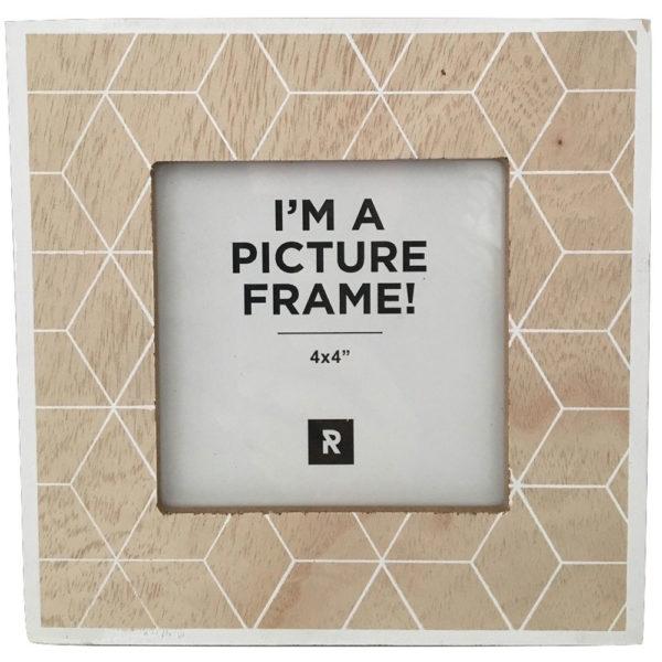 Beige & White Check Timber Photo Frame 5