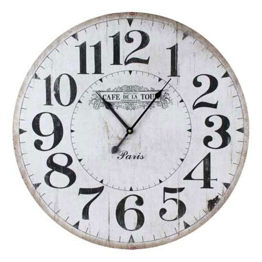 """Large Round 58cm White """"Cafe De La Tour""""Wall Clock 1"""