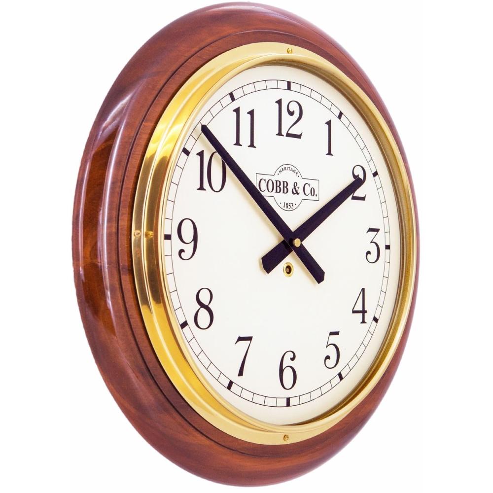Round 40cm Arabic Numerals Railway Wooden Wall Clock - Glossy Oak 2