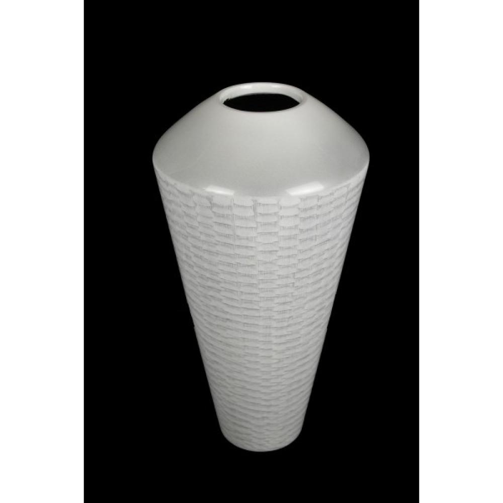 White Lacquer Ware Urn Vase 39cm 1