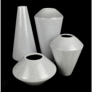 White Lacquer Ware Urn Vase 39cm 5
