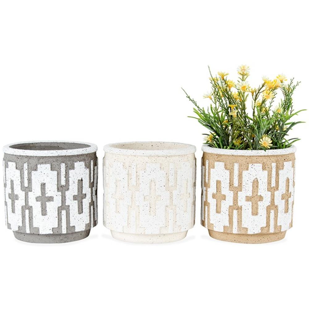 Natural Block Pattern Terracotta Pot Planters - Set of 3 2