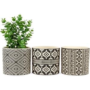 Black & Ivory Aztec Pattern Pot Planters - Set of 3 6
