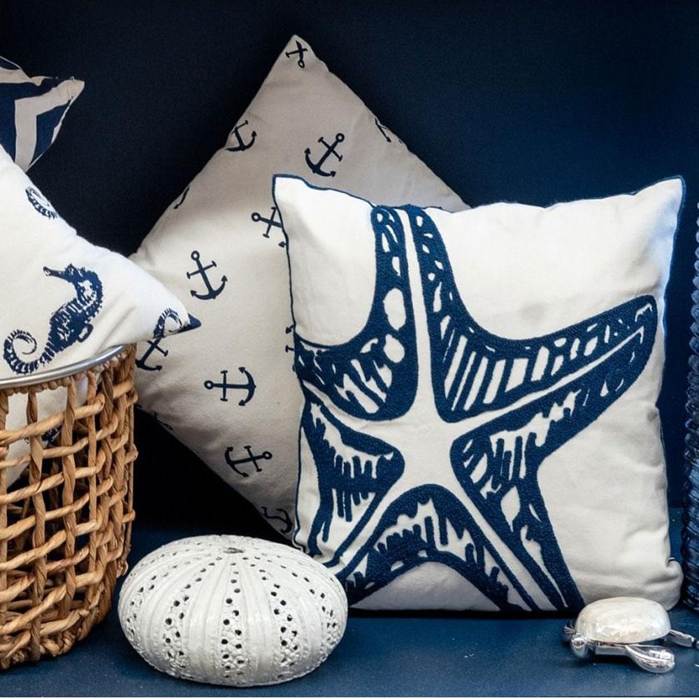 White & Blue Starfish Embroidered Cushion 45cm x 45cm 2