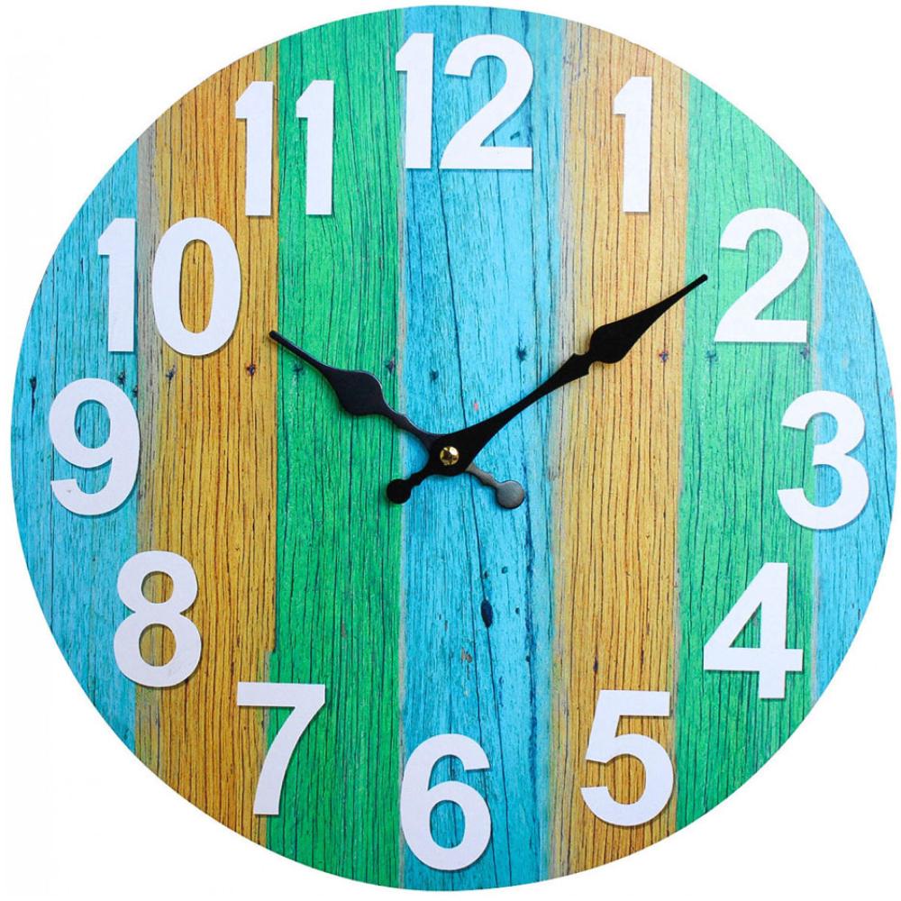 Round 34cm Colourful Boardwalk Wall Clock 1