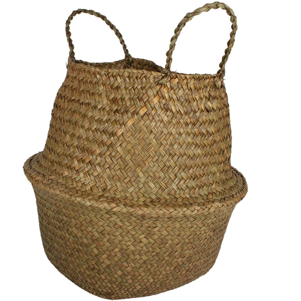 Byron Sea Grass Belly Folding Laundry Storage Baskets - Set of 2 1