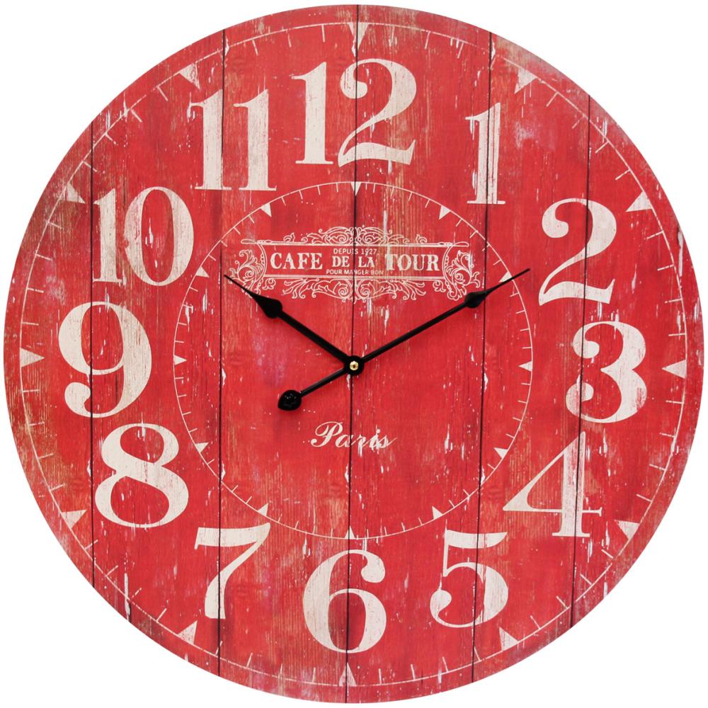 """Large Round 58cm Red """"Cafe De La Tour"""" Wall Clock 1"""