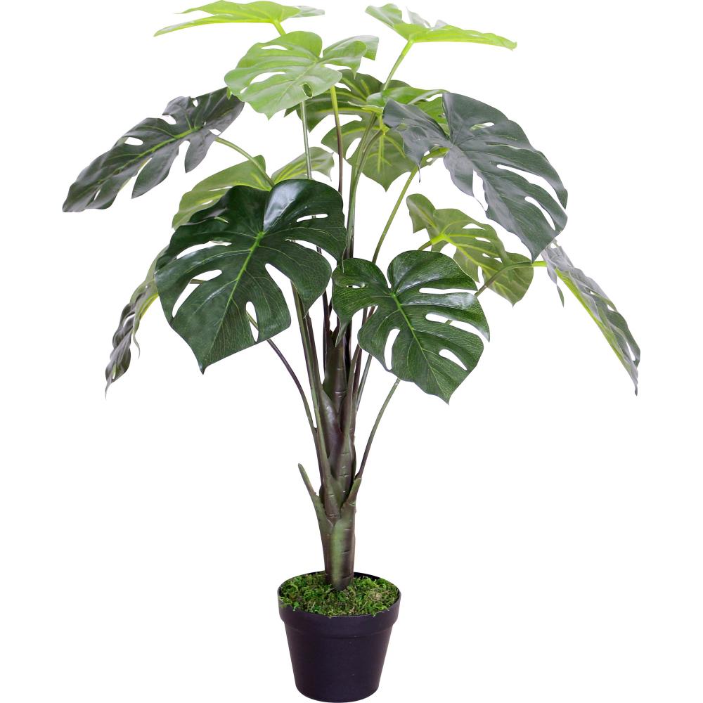 Artificial Plant Green Monstera in Plastic Pot 70cm 1