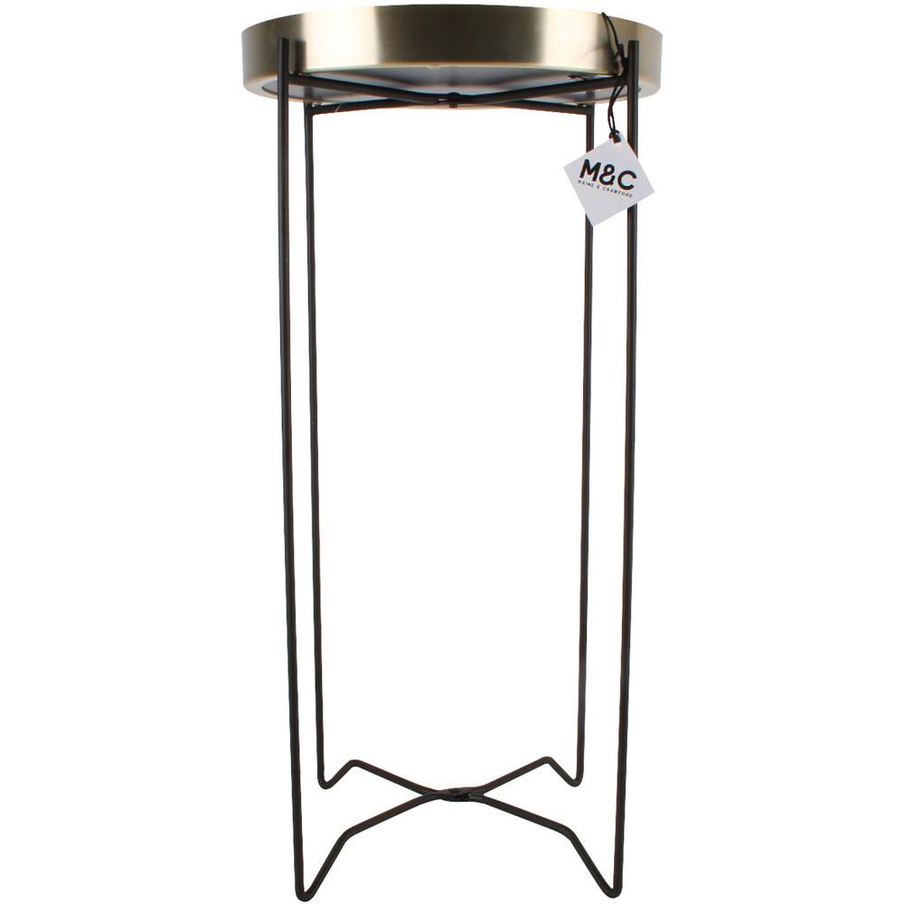 Bronze Arabella Round Mirror Top Side Table 67cm 2