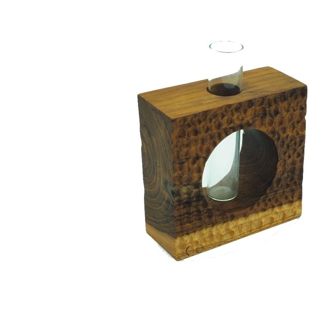 Acacia Wood Square Dimple Vase 1