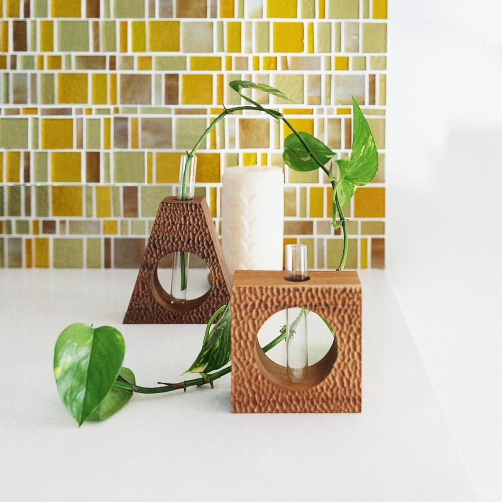 Acacia Wood Square Dimple Vase 2