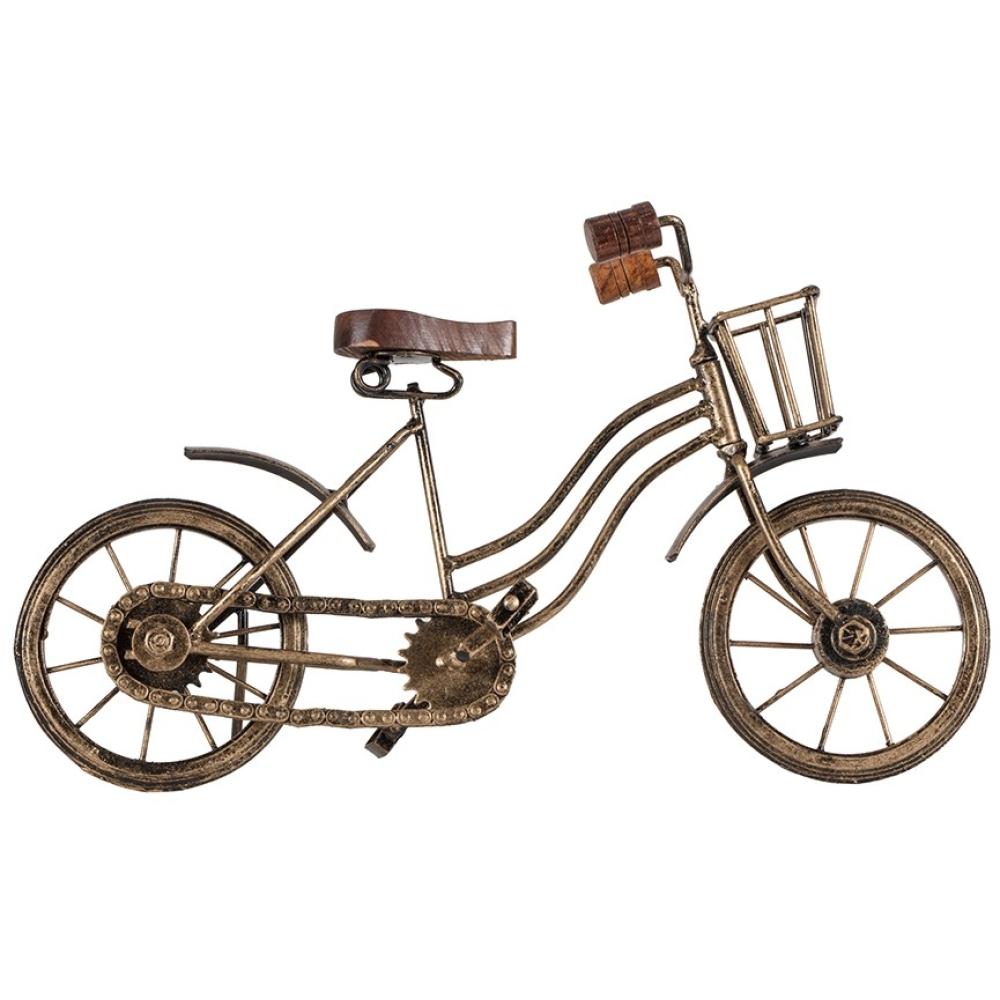 Antique Gold Vintage Metal Bicycle With Basket 32cm 2