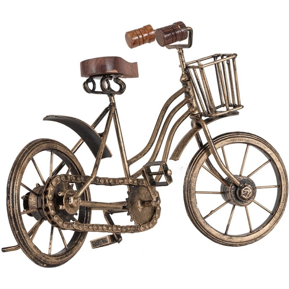 Antique Gold Vintage Metal Bicycle With Basket 32cm 4