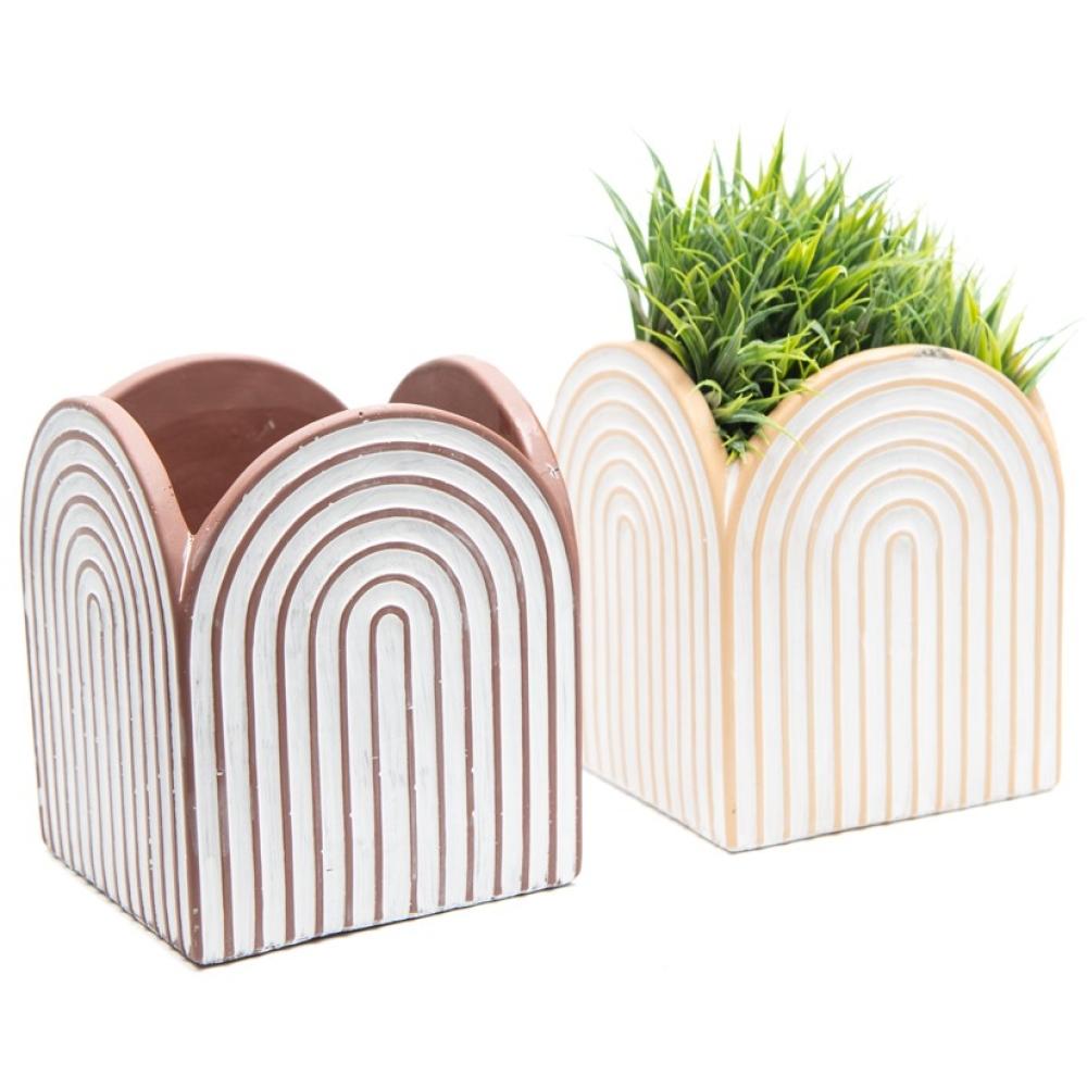 Beige & Brown Arc Square Pot Planters - Set of 2 2