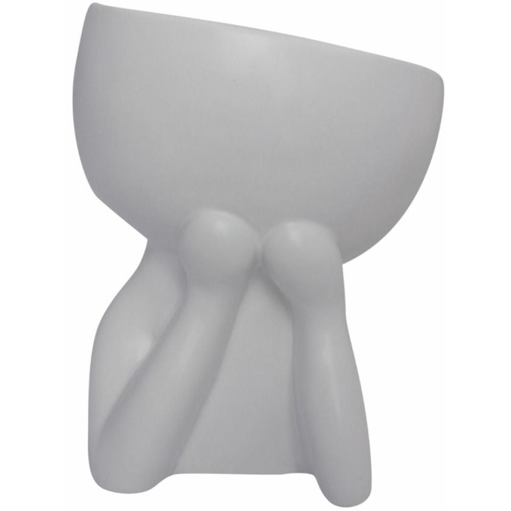"""""""Speak No Evil"""" Ceramic Pot Planter White 1"""