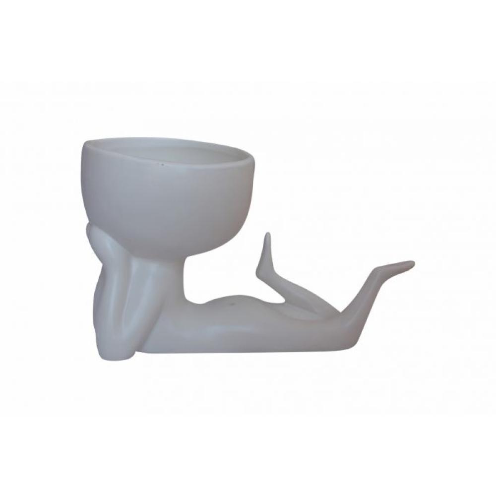 """""""Speak No Evil"""" Ceramic Pot Planter White 2"""