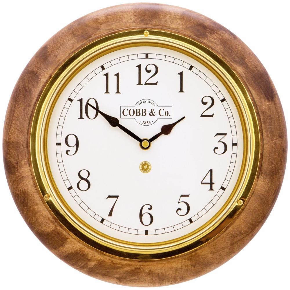 Round 28cm Arabic Numerals Railway Wooden Wall Clock - Satin Antique 1
