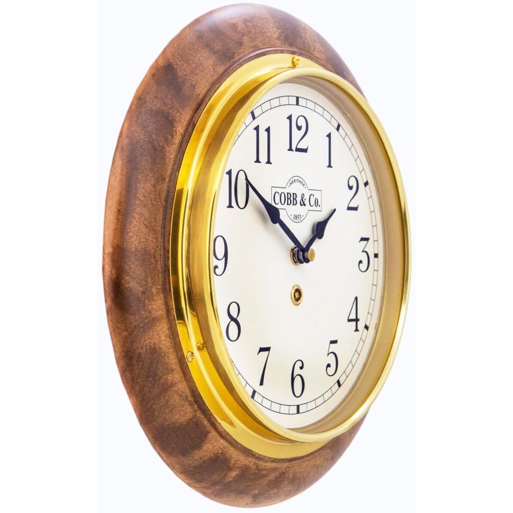 Round 28cm Arabic Numerals Railway Wooden Wall Clock - Satin Antique 2