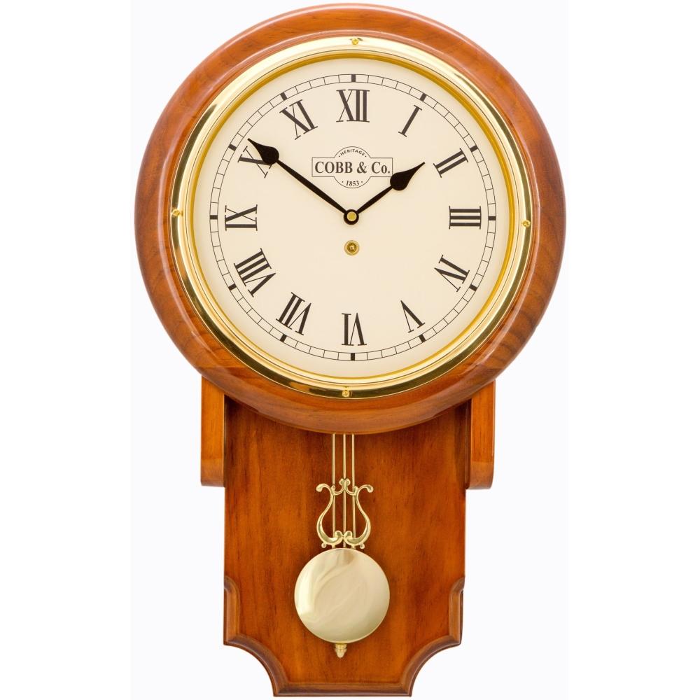 Cobb & Co. Pendulum Chime Wooden Wall Clock - Glossy Oak Roman 55cm 1