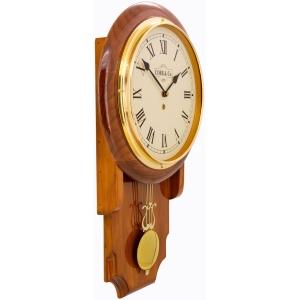 Cobb & Co. Pendulum Chime Wooden Wall Clock - Glossy Oak Roman 55cm 4