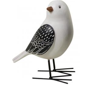 Black & White Resin Birds With Iron Feet - Set of 2 5