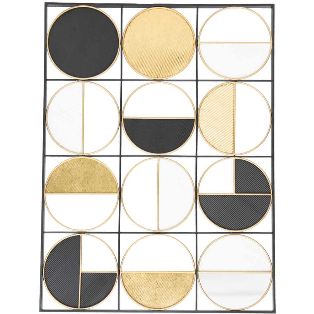 Rustic Gold & Black Circular Metal Wall Decor 100cm 1