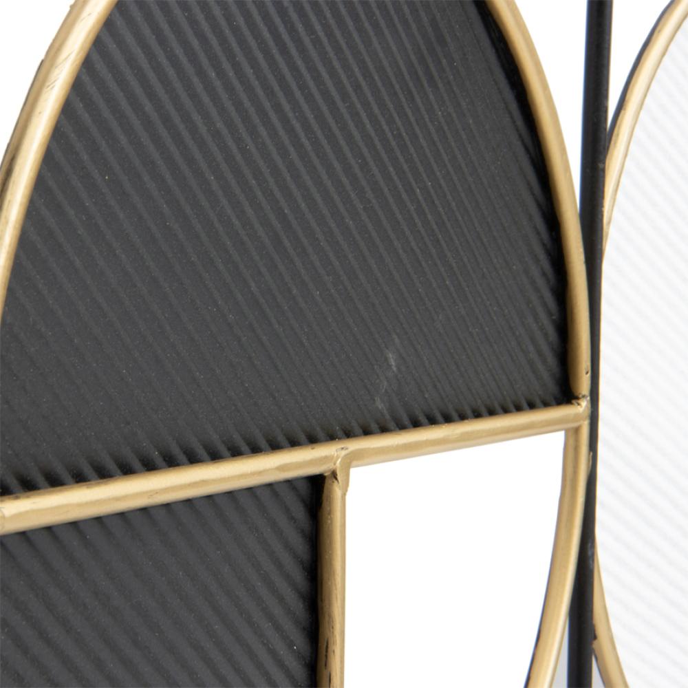 Rustic Gold & Black Circular Metal Wall Decor 100cm 3