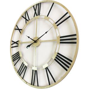 Large Round 80cm Black & Golden Metal Wall Clock 4