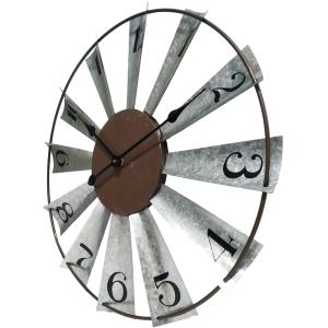 Round 60cm Galvanised Windmill Metal Wall Clock 4