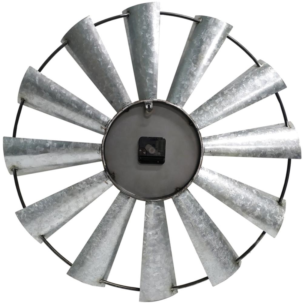 Round 60cm Galvanised Windmill Metal Wall Clock 3