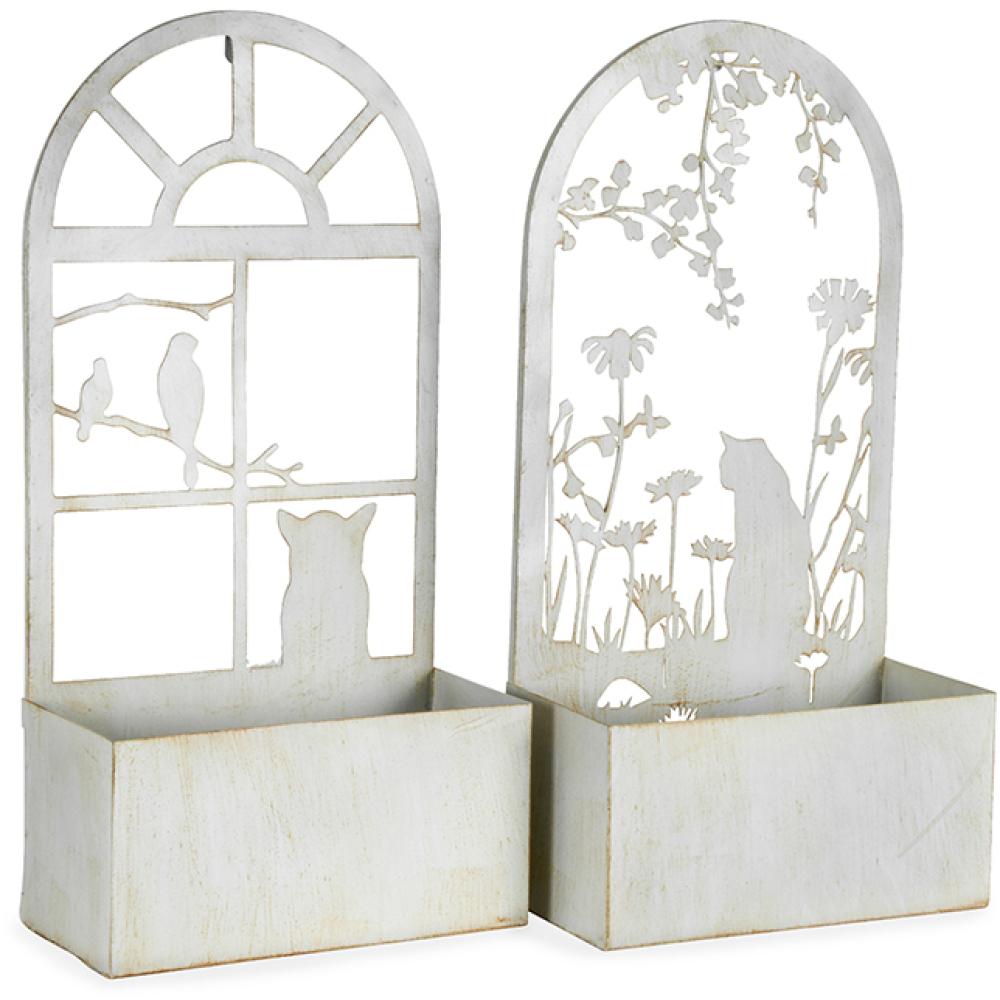 Whitewash Cat Silhouette Metal Wall Planters - Set of 2 3