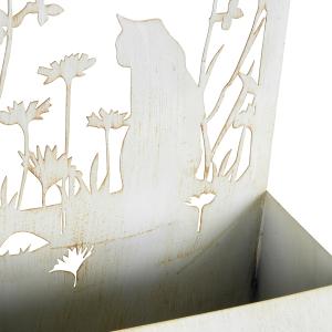 Whitewash Cat Silhouette Metal Wall Planters - Set of 2 9