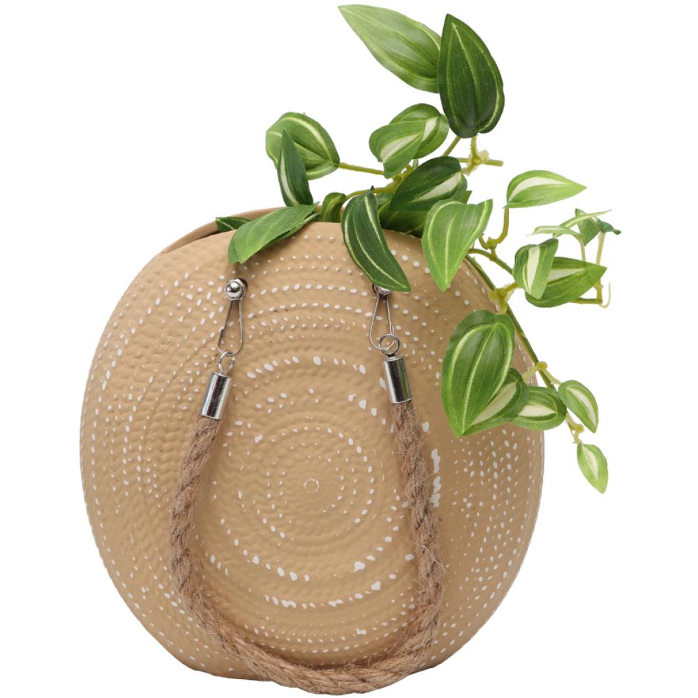 Textured Handbag Ceramic Pot Planter With Rope 1