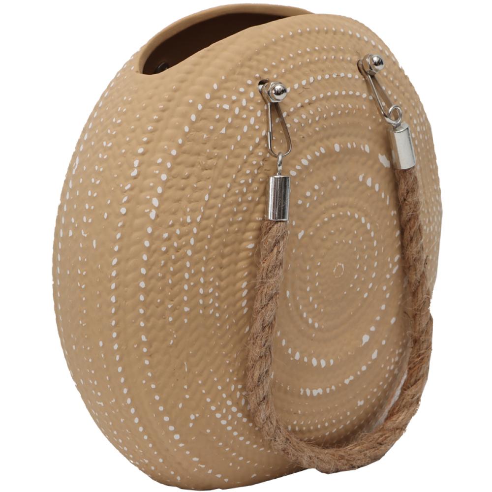 Textured Handbag Ceramic Pot Planter With Rope 3