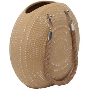 Textured Handbag Ceramic Pot Planter With Rope 6