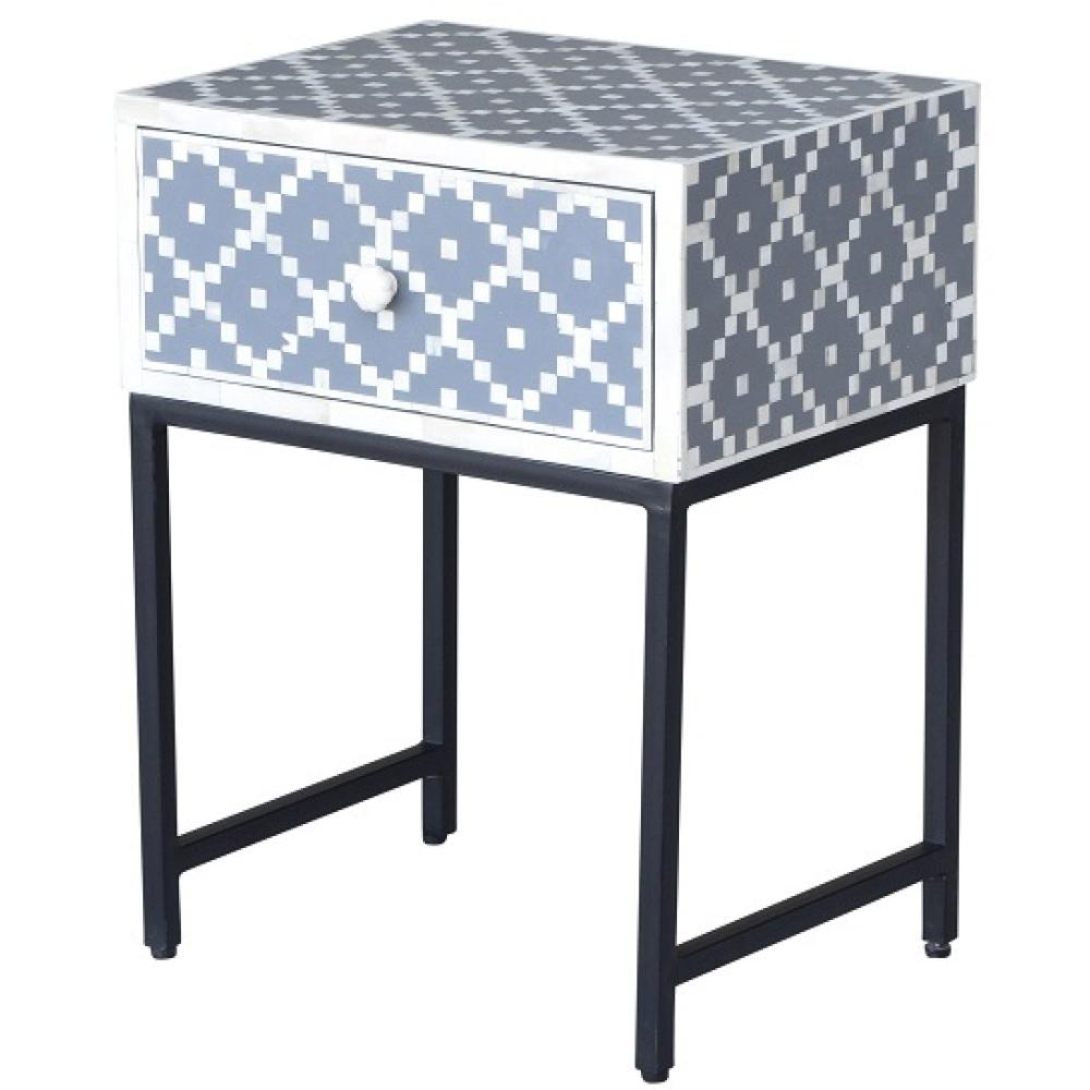 Chelsea Bone Inlay & Metal Side Table - Grey 2