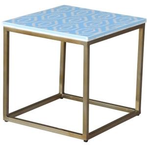 Grosvenor Bone Inlay & Metal Side Table - Blue 3
