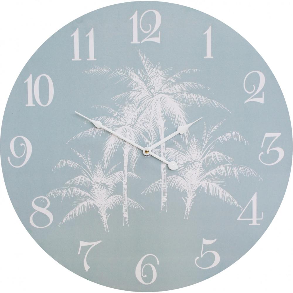 Large Round 58cm Soft Blue Seaside Palm Wall Clock 1