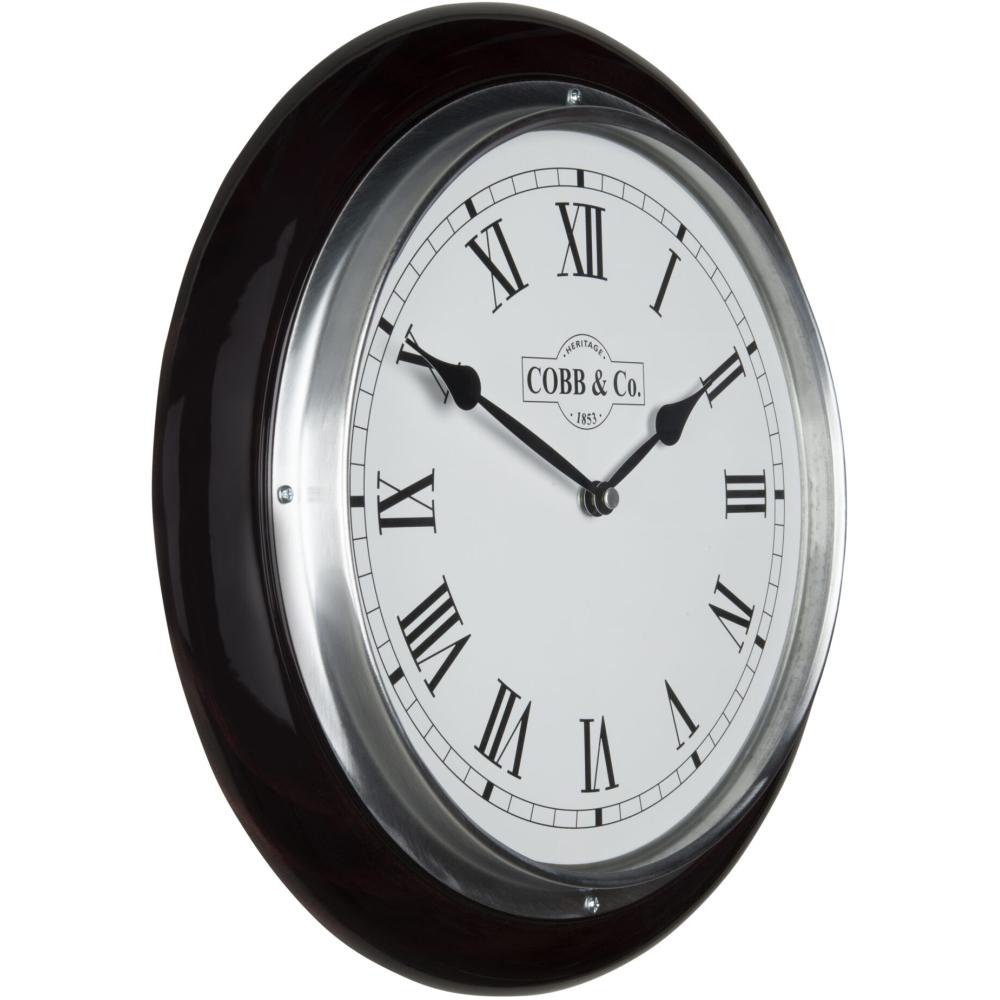 Cobb & Co. Railway Wooden Wall Clock - Glossy Mahogany Roman Chrome 32cm 2