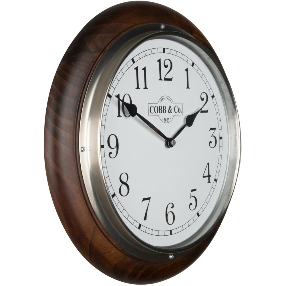 Cobb & Co. Railway Wooden Wall Clock – Satin Walnut Arabic Chrome 32cm 2