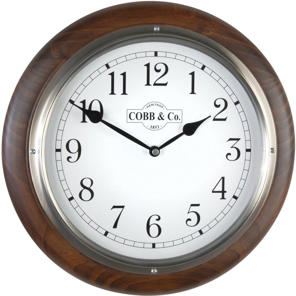 Cobb & Co. Railway Wooden Wall Clock – Satin Walnut Arabic Chrome 32cm 1