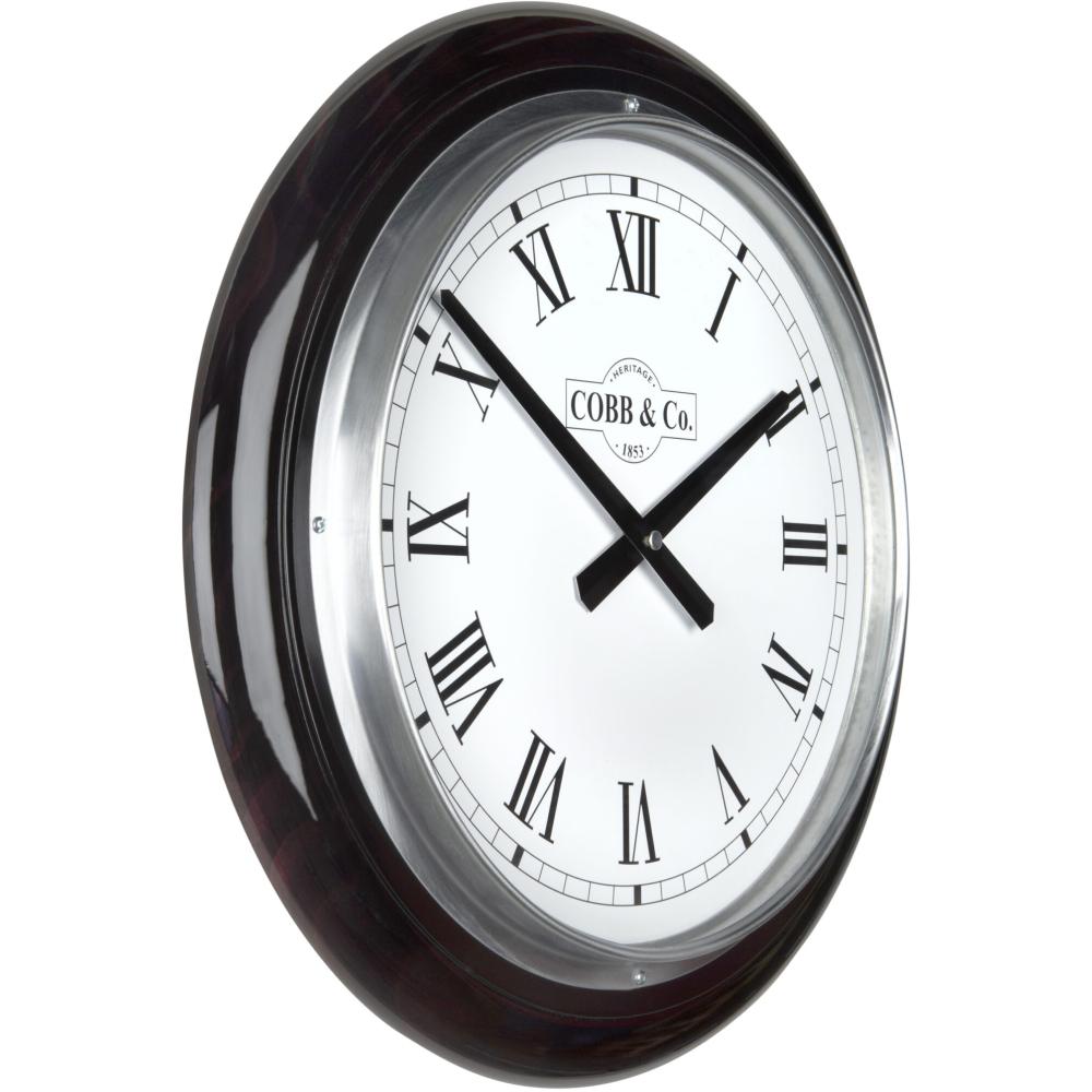Cobb & Co. Railway Wooden Wall Clock - Glossy Mahogany Roman Chrome 40cm 2