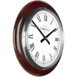 Cobb & Co. Railway Wooden Wall Clock - Glossy Walnut Roman Chrome 40cm 4