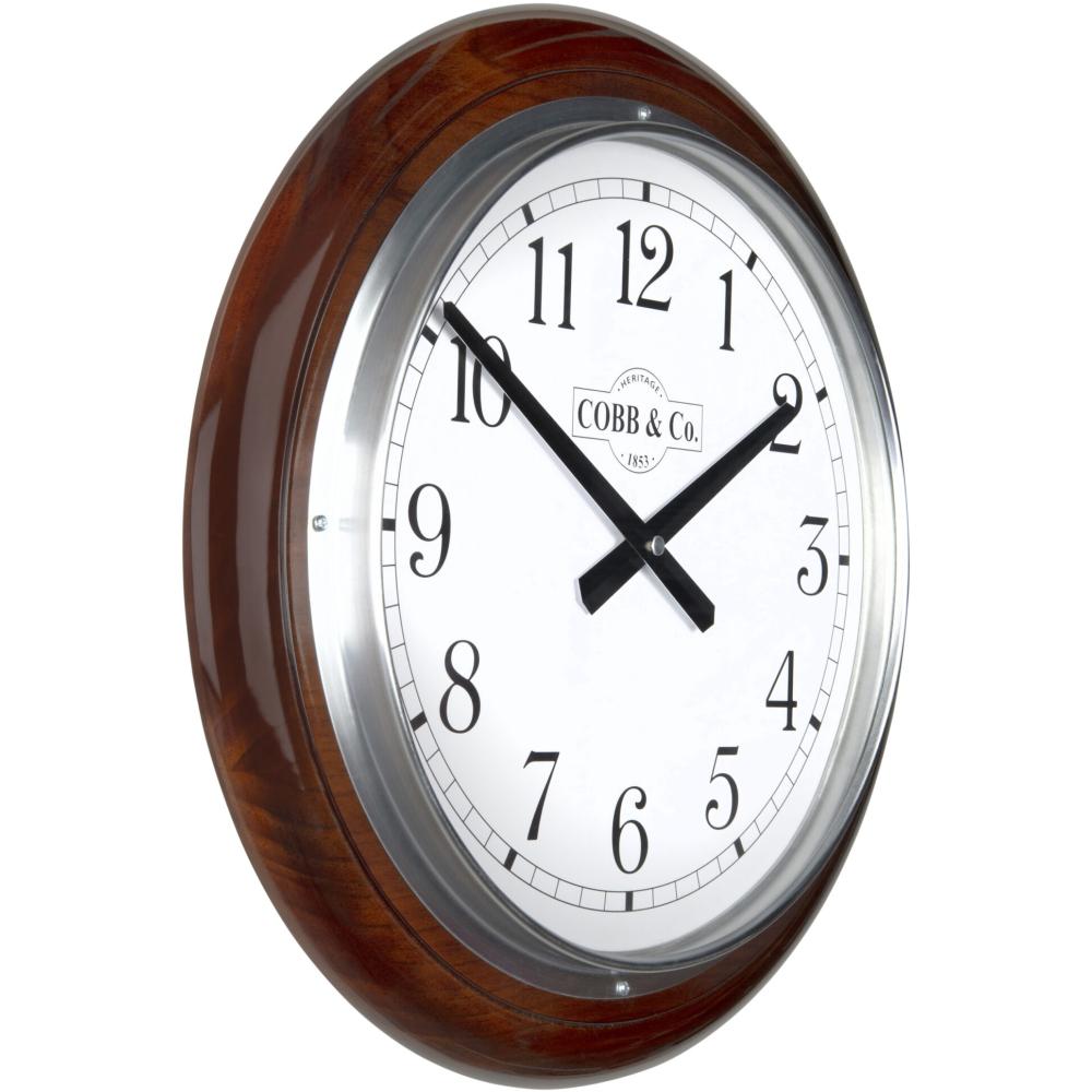 Cobb & Co. Railway Wooden Wall Clock - Glossy Walnut Arabic Chrome 40cm 2