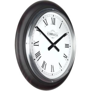 Cobb & Co. Railway Wooden Wall Clock - Satin Mahogany Roman Chrome 40cm 4