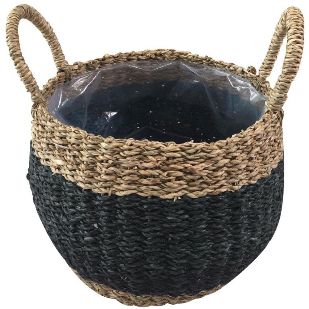Emma Grey & Natural Round Plant Basket 1