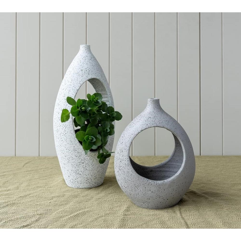 Grey Specked Terracotta Short Planter 3