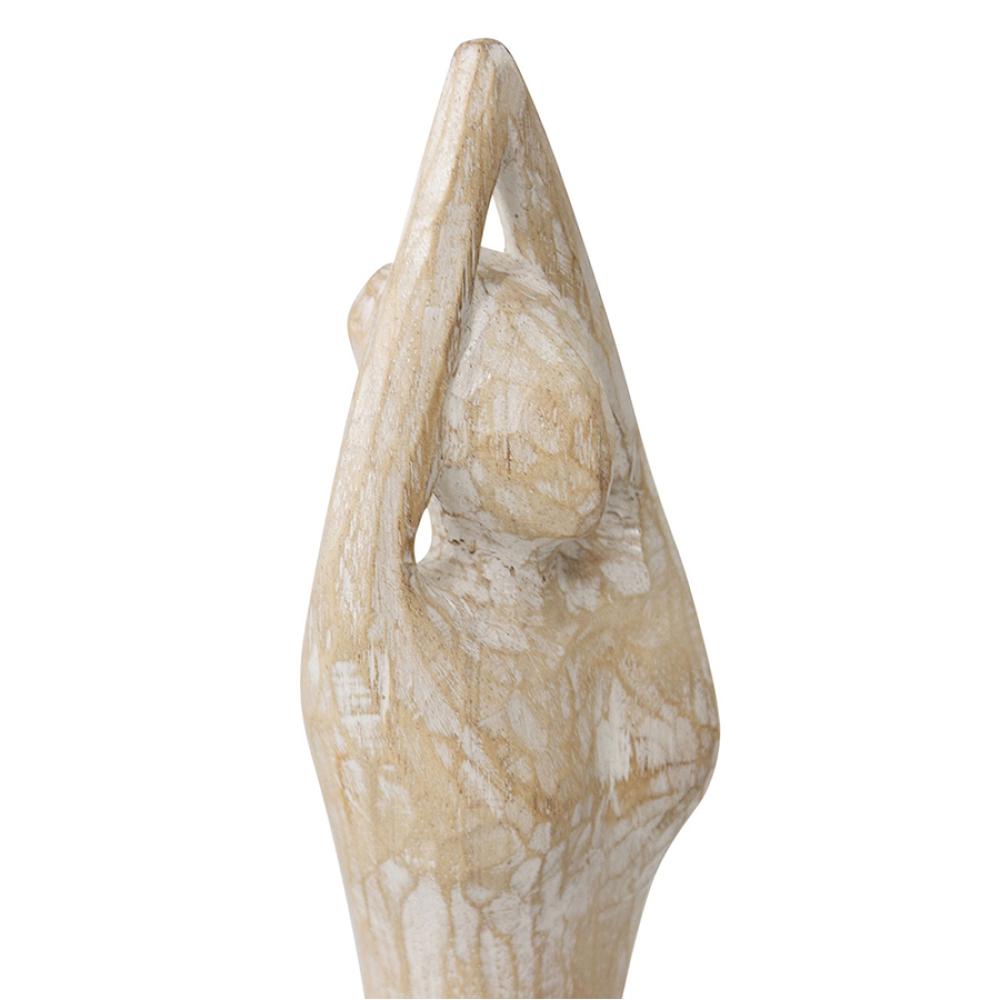 Whitewashed Hand Carved Female Yoga Figurine 3